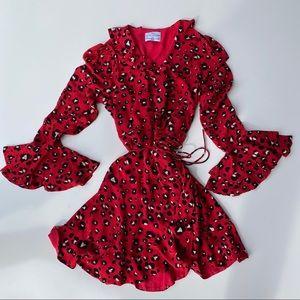 Seven Wonders Red Animal Print Mini Wrap Dress 4